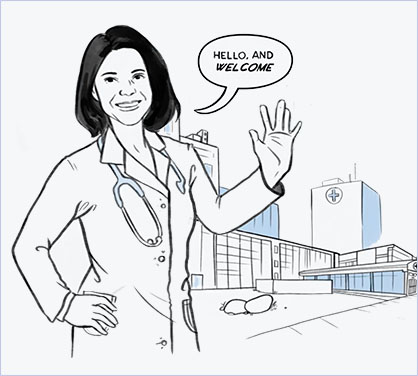 Drawing of Cardiologist JoAnne Foody saying 'Hello, and Welcome'
